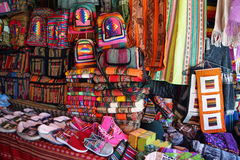 Market stall with colorful indigenous clothes, Argentina Stock Photos