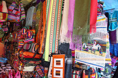 Market stall with colorful indigenous clothes, Argentina Stock Photography