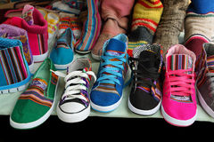 Market stall with colorful indigenous shoes, Argentina. Market stall with colorful shoes in Tilcara, Jujuy province, Argentina royalty free stock photos