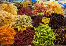 Market stall with dried fruit Royalty Free Stock Photo