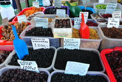 Market stall with dried fruit Royalty Free Stock Photography