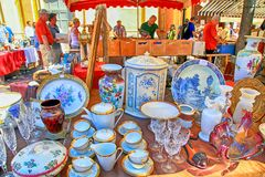 Market stall at the famous antique market Cours Saleya in Nice, stock images