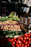 Market stall of fresh fruit and vegetables. A market stall of fresh fruit and vegetables in a town square Royalty Free Stock Photography