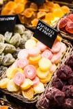 Market stall full of candys in La Boqueria Market. Barcelona. Catalonia. Stock Image