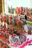 Market stall with hand made lollipops, shopping, traditional ukrainian sweets. Food Stock Images