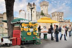 Market stall with lemons in Sirmione royalty free stock photo