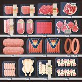 Showcase with meat products and price tags. Market stall with meat grocery, shop showcase with price tags or dollar labels and barcode. Lamb and beef, sausage stock illustration