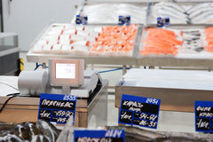 Market stall with raw fish Stock Photos
