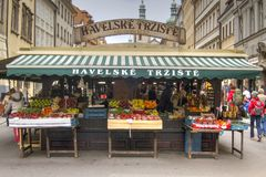 Market Stall, Prague. A market stall selling fruit and vegetables in old town prague, czech republic, europe stock image