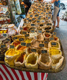 Market stall in the South of France. Different produce for sale in the South of France market stall in Sanary Sur le Mer Stock Image