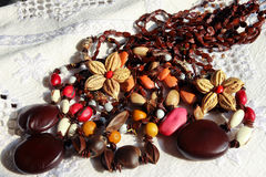 Market stall in Trinidad , traditional seed pods necklaces Stock Images