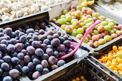 Market stall with variety of organic vegetable royalty free stock image