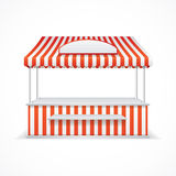Market stall. Vector. Market stall with red and white stripes. Vector illustration Stock Photo