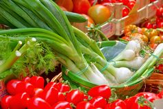 Market stall for vegetable Stock Photos