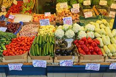 Market Stall. Vegetables in Crates at Farmers Market Stall Royalty Free Stock Images