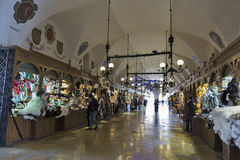 Market stalls in Cloth Hall, Krakow, Poland. Stock Images