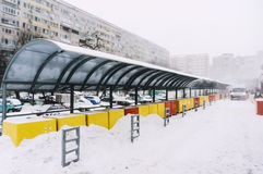 Market stalls covered in snow Stock Photo
