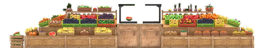 Market stalls with fruits and vegetables, fresh food, Isolated on white background. 3d render royalty free illustration