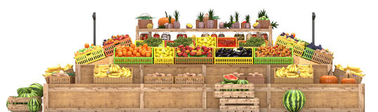 Market stalls with fruits and vegetables, fresh food, Isolated on white background, 3d render. Market stalls with fruits and vegetables, fresh food, Isolated on royalty free illustration