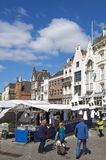 Market stalls and historic buildings, Den Bosch. Netherlands, province North Brabant, provincial capital, city 's-Hertogenbosch or Den Bosch in the conservation Stock Photos