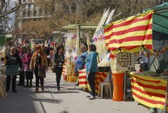 Market stalls for Holy Week. Barcelona. Spain Royalty Free Stock Photography