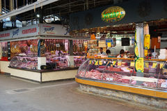 Market stalls at La Boqueria in Barcelona stock photography