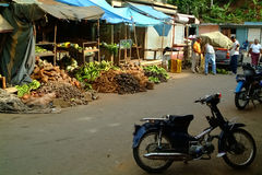 Market Stalls in Samana. Dominican republic  , few motorcycles near by Royalty Free Stock Photography