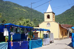 Market stalls. In a small town square of Vila do Abraao on Ilha Grande in Brazil Royalty Free Stock Images