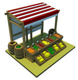 Market stand 3d art Stock Photos