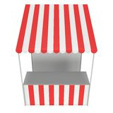 Market stand kiosk stall with striped awning for promotion sale Stock Image