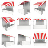 Market stand kiosk stall with striped awning for promotion sale Stock Images
