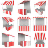 Market stand kiosk stall with striped awning for promotion sale Stock Photo