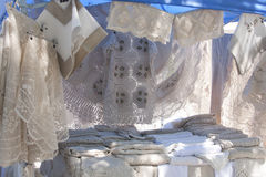 Market Stand with Lace Stock Images
