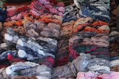Market stand with scarfs Stock Images