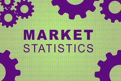 MARKET STATISTICS concept. MARKET STATISTICS sign concept illustration with purple gear wheel figures on pale green background Royalty Free Stock Photo