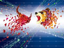 Market; stock; crash; down; bear; recession; crisis; red; downtu. Bull and Bear symbols on stock market vector illustration. vector Forex or commodity charts, on stock illustration