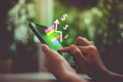 Market stock graph icon screen of smartphone. Market stock graph icon screen of smartphone background. Financial business technology freedom dream life using royalty free stock images