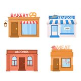 Market, storefront. Bakery, sea food, alcohol, meat store building facade. Vector. stock illustration