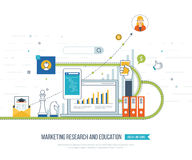 Market strategy analysis, online marketing research, business analytics and planning Stock Image