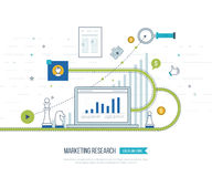Market strategy analysis, online marketing research, business analytics and planning. Color line flat design of market strategy analysis, marketing research Royalty Free Stock Photos