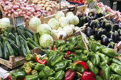 Fresh vegetables at a market street Royalty Free Stock Photography