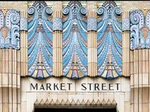 Market Street art, Philadelphia, Pennsylvania. Colorful fresco outside Market Street entrance in Philadelphia, Pennsylvania Royalty Free Stock Images