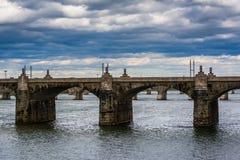 The Market Street Bridge over the Susquehanna River, in Harrisbu Royalty Free Stock Photos