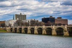 The Market Street Bridge over the Susquehanna River, in Harrisbu Royalty Free Stock Image