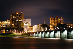 The Market Street Bridge over the Susquehanna River and the skyl Stock Images
