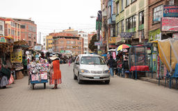 Market street in El Alto, La Paz, Altiplano in Bolivia Royalty Free Stock Photo