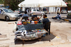 Market on street in Francis Town, Botswana Royalty Free Stock Images