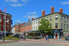 Market Street, Portsmouth, New Hampshire, USA. Historic buildings on Market Street at Market Square in downtown Portsmouth, New Hampshire, USA. Market Street is Royalty Free Stock Photo