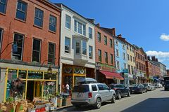 Market Street, Portsmouth, New Hampshire, USA. Market Street is an 18th-century commercial path connect waterfront area in downtown Portsmouth, New Hampshire Royalty Free Stock Photography