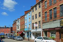 Market Street, Portsmouth, New Hampshire, USA. Market Street is an 18th-century commercial path connect waterfront area in downtown Portsmouth, New Hampshire Stock Photos